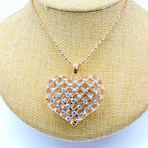 Betsey Johnson Hollow Rhinestone Heart Necklace 💗